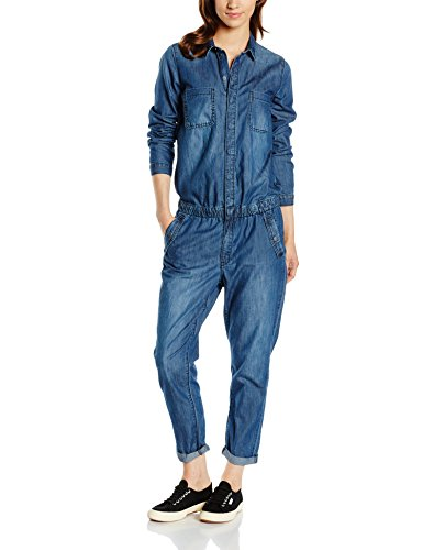 s.Oliver Damen Relaxed Jumpsuits in Denimqualität, Gr. 38, Blau (blue denim stretch 56Z4)