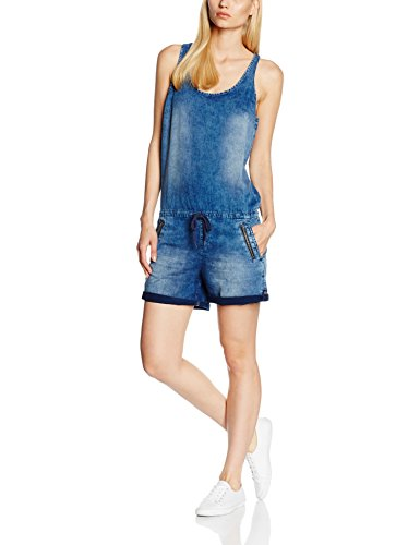 Q/S designed by - s.Oliver Damen Jumpsuit 46.606.85.6160, Blau (Blue Denim Heavy Stone Wa 55Z6), Medium