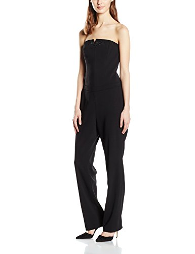 s.Oliver BLACK LABEL Damen Relaxed Jumpsuits mit Schmucksteinen, Gr. 38, Schwarz (diamond black 9999)