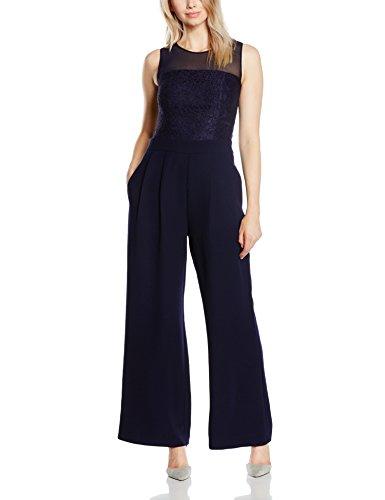 s.Oliver BLACK LABEL Damen Straight Leg Jumpsuits mit Spitzencorsage, Gr. W32 (Herstellergröße: 40), Blau (star blue 5959)
