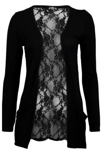 (womens black lace back boyfriend cardigan (aqa) Frauen schwarz schnüren zurück boyfriend Strickjacke (36/38 (uk 8/10), black)