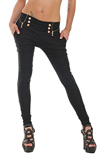 10037 Fashion4Young Damen Treggings Hose aus elastischem Stretch-Material verfügbar in 5 Größen 3 Farben (L = 40, Schwarz)