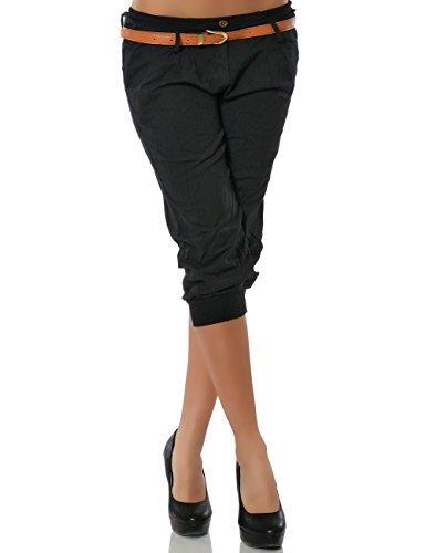 Damen Chino Capri Hose inkl. Gürtel (weitere Farben) No 13235, Größe:M / 38;Farbe:Schwarz