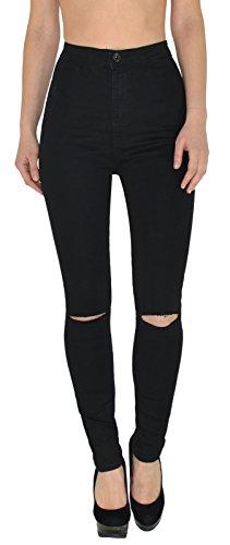 by-tex Damen Jeans Hose Risse am Knie High Waist Damen Jeanshose Skinny Hochbund Hose bis Übergröße J184