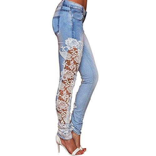 Eleery Damen dehnbar Jeans Hose Skinny Leggins Strumpfhosen Lange Schlank Hose Hüftehose Bleistifthose (38, Weiss Spitze)