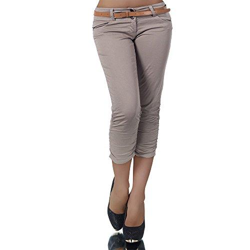 H968 Damen Chino Hose Stoffhose Capri Bermuda Sommerhose Boyfriend Shorts Gürtel, Farben:Coffee;Größen:36 (S)