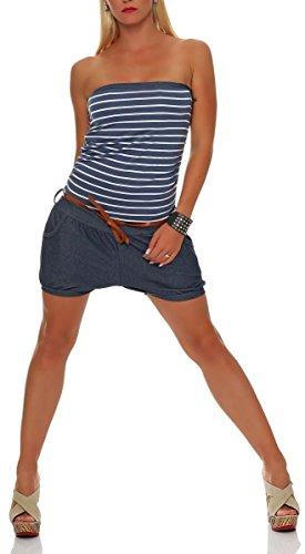 malito kurzer Marine Jumpsuit im Jeans-Look 9646 Damen One Size (jeansblau)