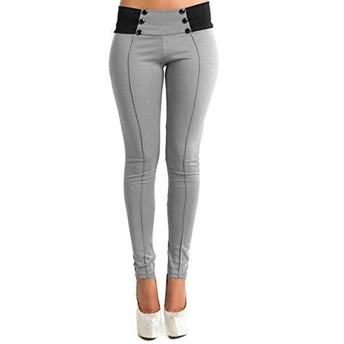 West See Frauen Stretch Skinny Leggings Casual Hose Sporthose Slim Fitness Pants Damenhose (M, Grau)