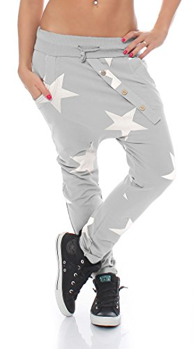 ZARMEXX trendy Damen Sweatpants Baggy Boyfriend Freizeithose Jogginghose Baumwolle Sporthose Loose fit Big Star (Einheitsgröße: Gr. 36-40 , hellgrau)