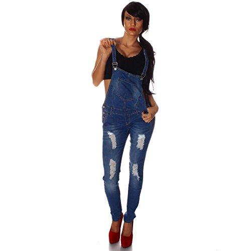 10697 Fashion4Young Damen Latzhose Hose pants mit Träger Röhren Jeans Overall Jeanshose Trägerhose (M=38, Blau)