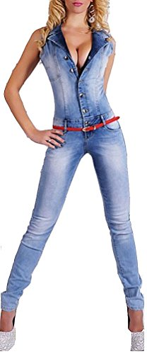Brinny Damen figurbetonter ärmellos Jeans Overall Jumpsuit Catsuit Röhrenjeans Skinny Military Denim Latzhose EU 40 (XL)