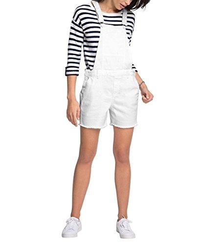 ESPRIT Damen Jumpsuits 056EE1L008-aus Jeans, Weiß (White 100), 38 (Herstellergröße: M)