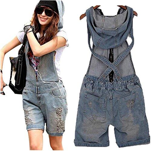 Minetom Damen Short Jeans Overall Hosenanzug Jumpsuit Hose Jeans Overall ( DE 40 )
