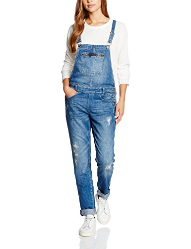 Q/S designed by - s.Oliver Damen Latzhosen 41.607.85.6197, Blau (Blue Denim, Heavy Stone w 56Z6), Medium