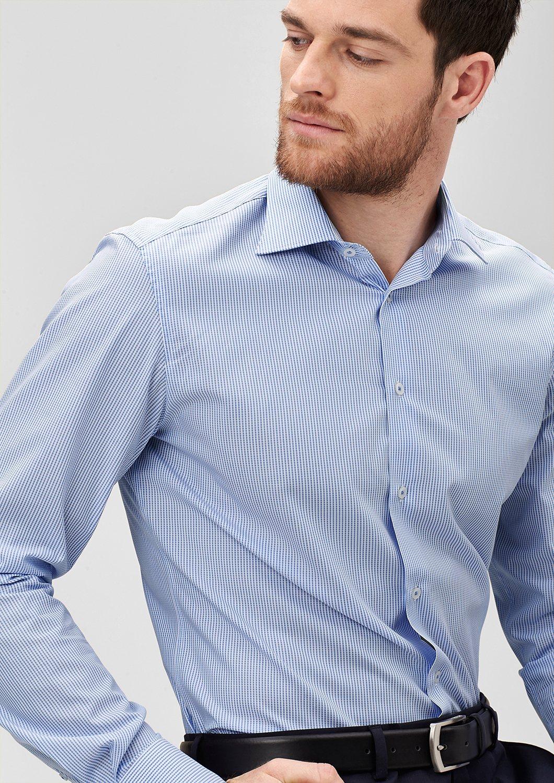 s.Oliver PREMIUM Modern Fit: Hemd mit Muster-Struktur