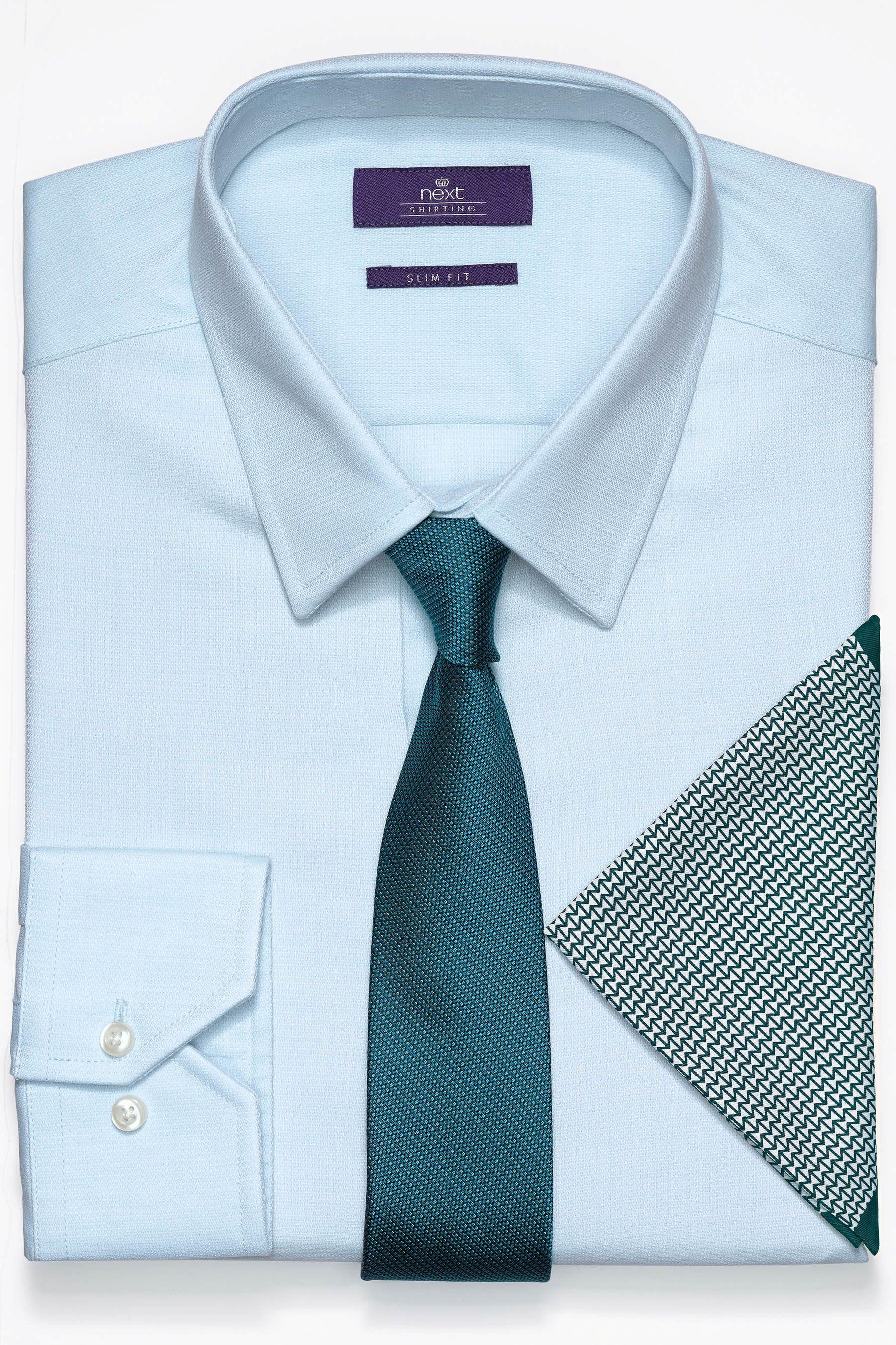 Next Strukturhemd, Krawatte und Einstecktuch im Set 3 teilig