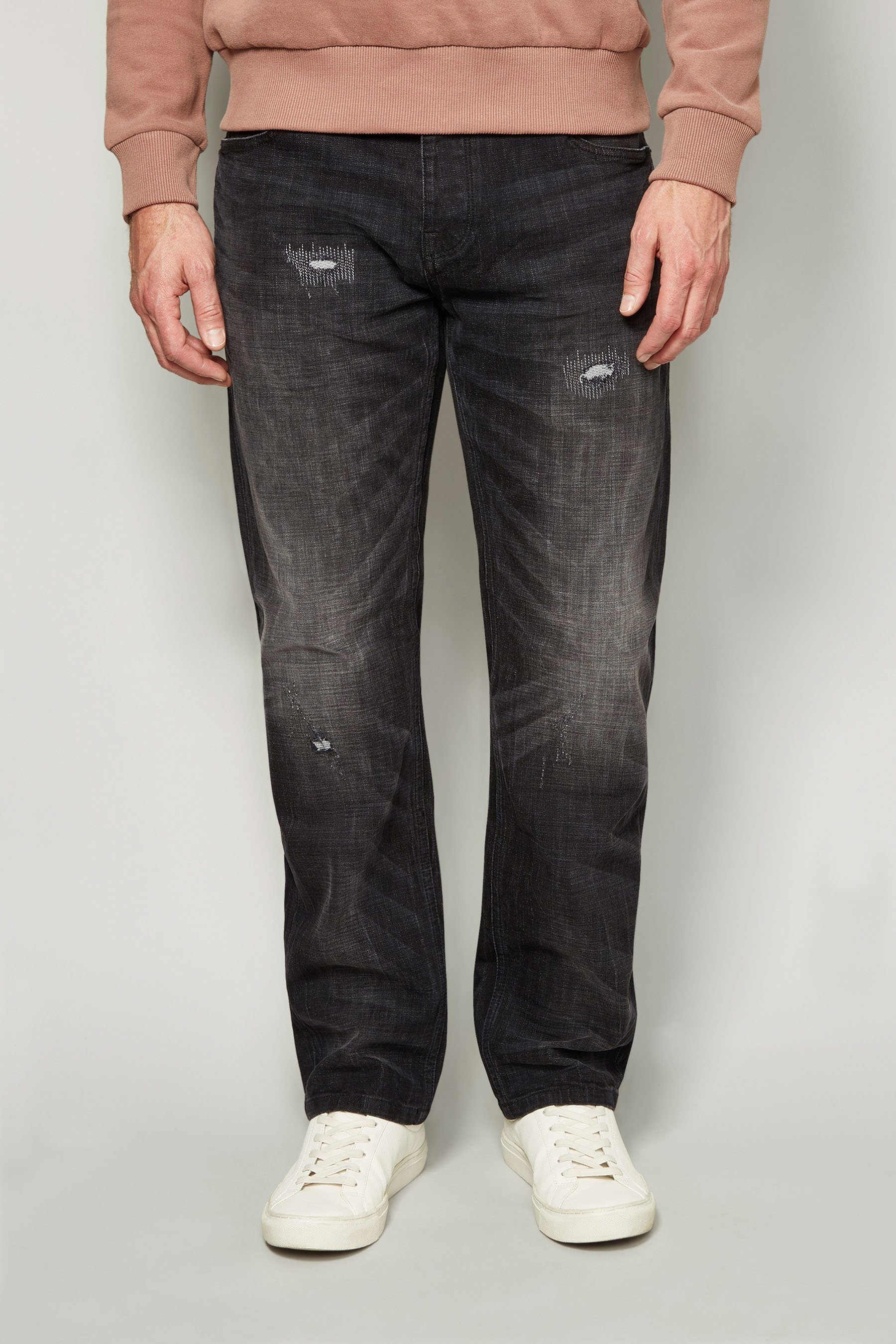Next Straight-Fit Washed Black Distressed Stretch-Jeans