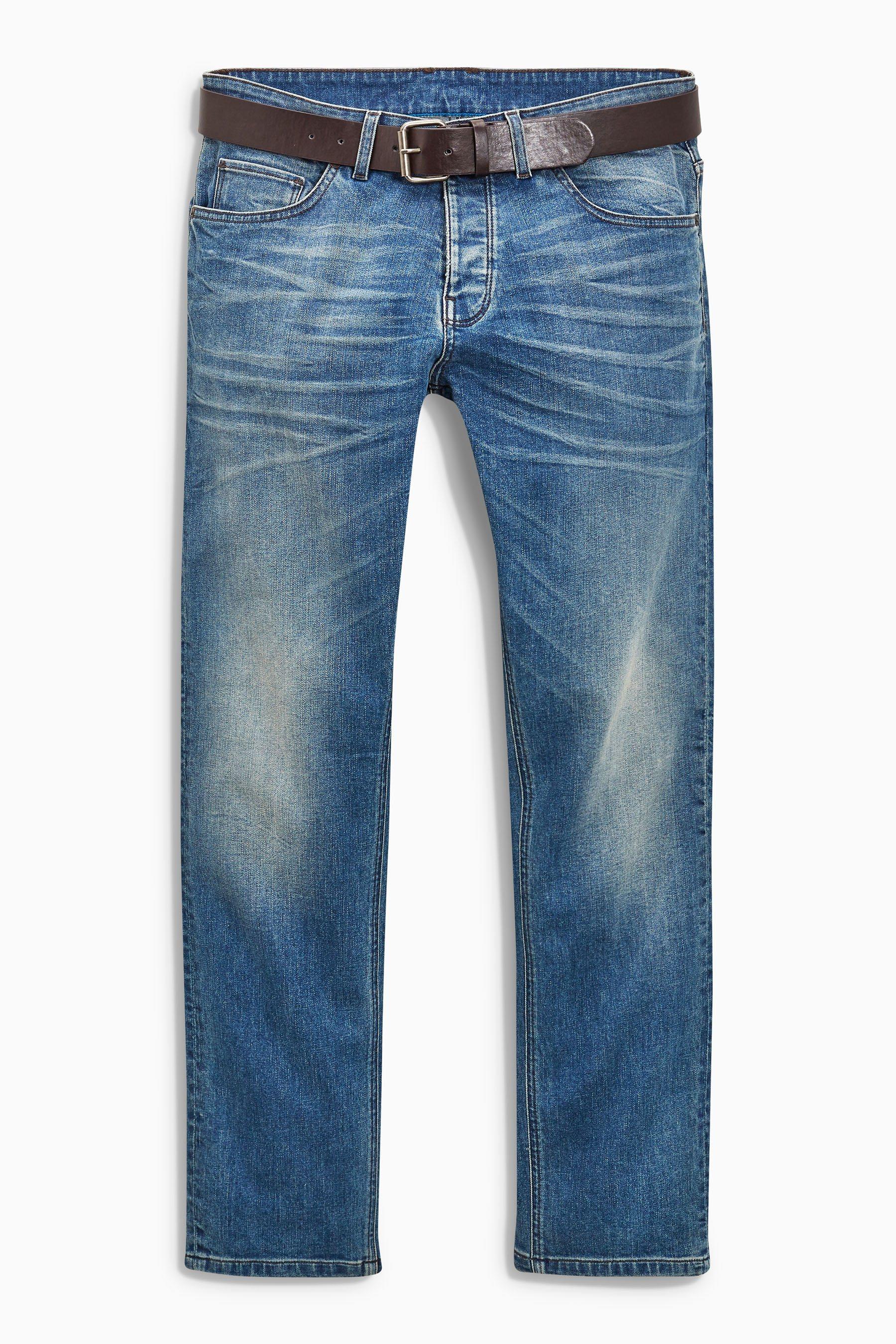 Next Slim-Fit Light Blue Stretch-Jeans mit Gürtel