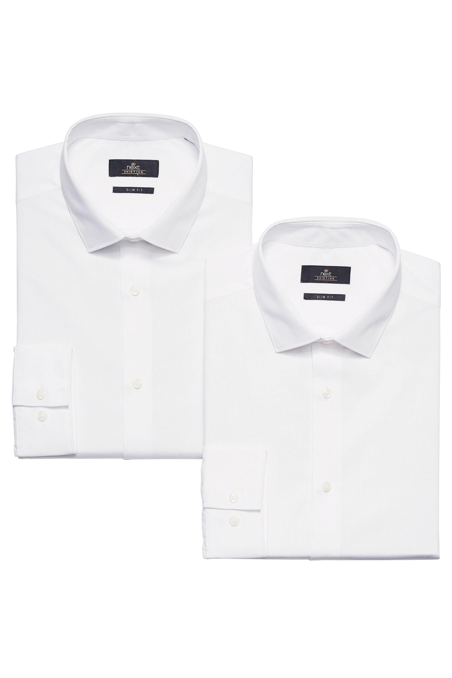 Next Einfarbige Hemden, 2er-Pack 2 teilig