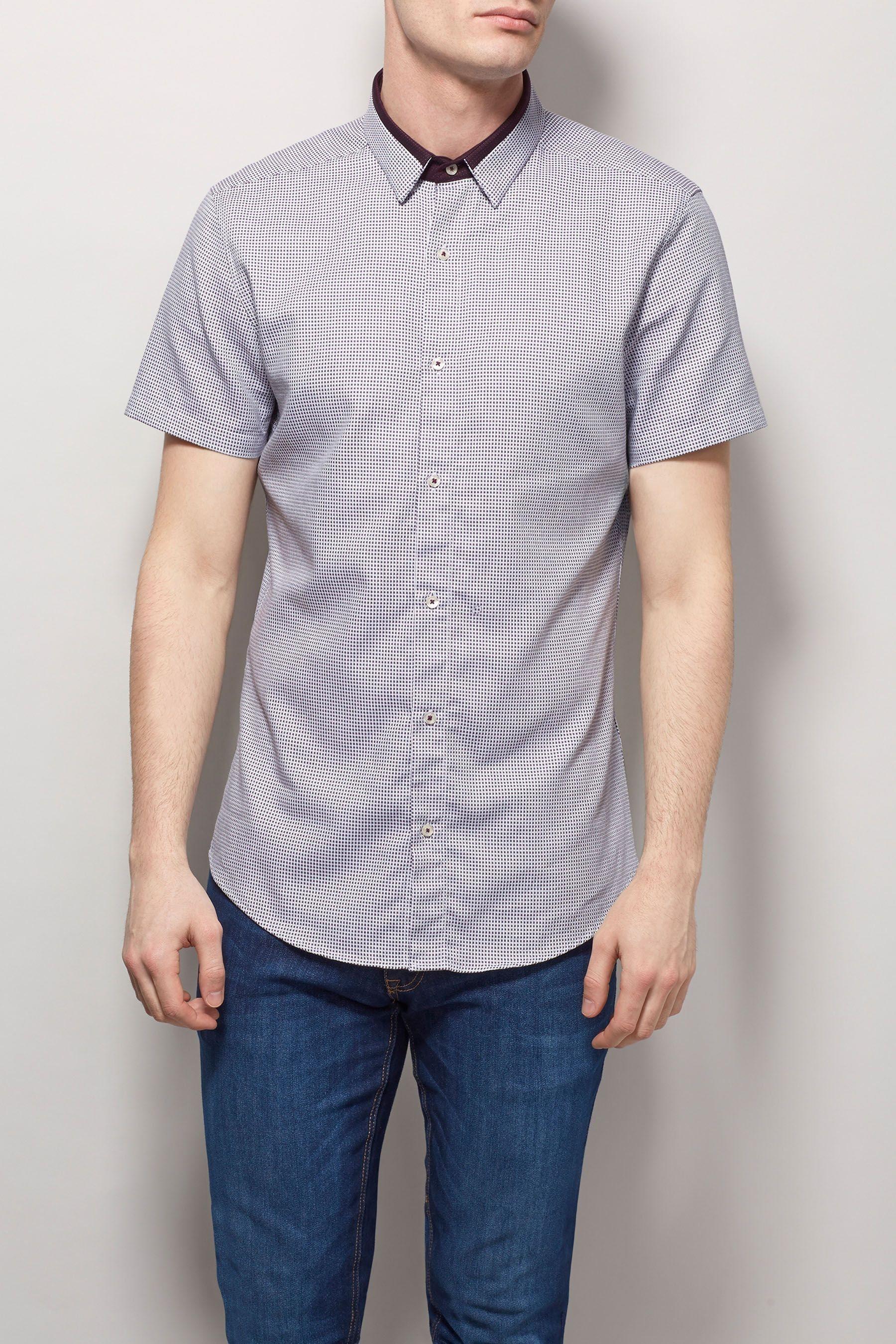 Next Strukturiertes Hemd mit Kontrastkragen