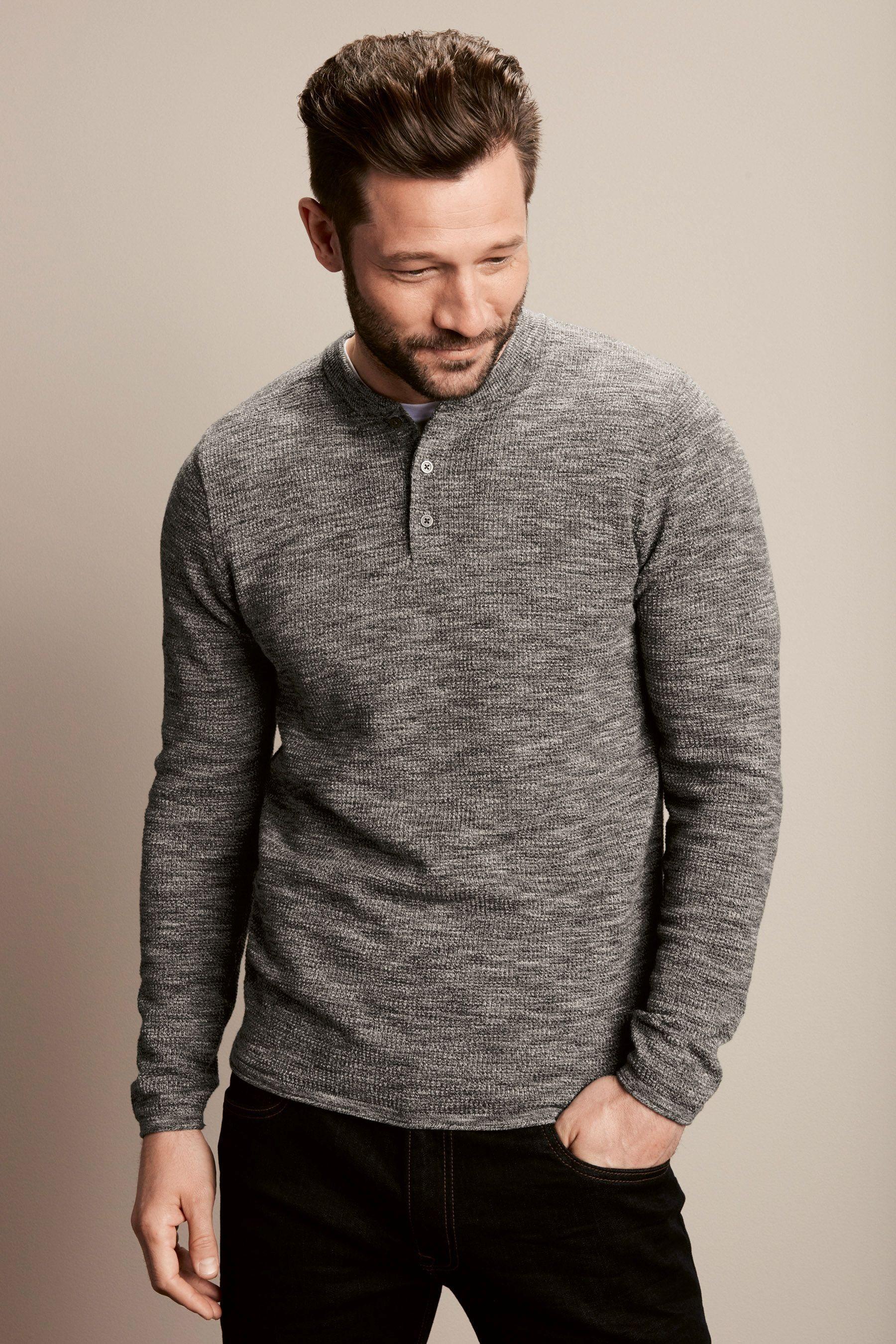 Next Strukturiertes Sweatshirt mit Knopfleiste