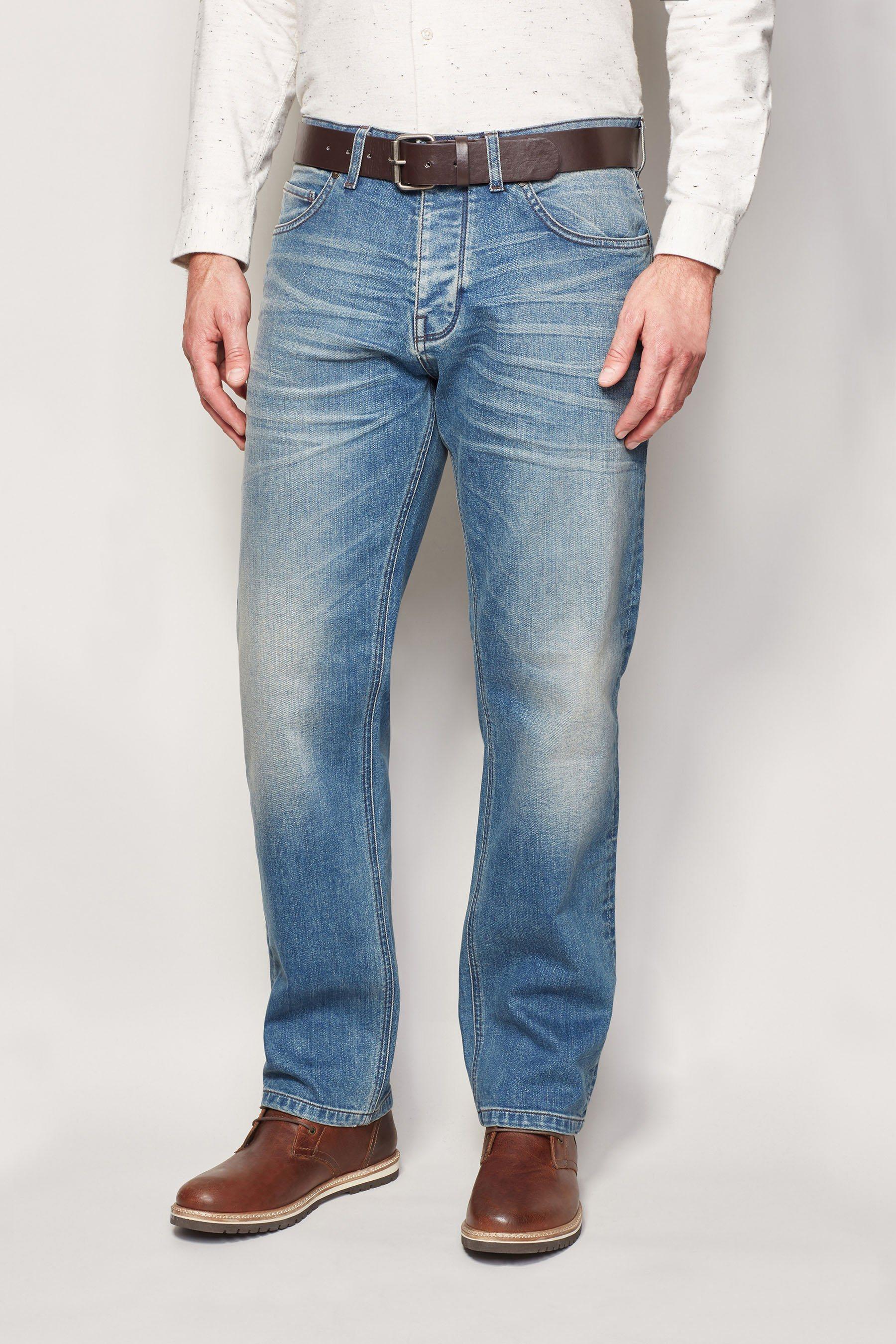 Next Straight-Fit Light Blue Stretch-Jeans mit Gürtel