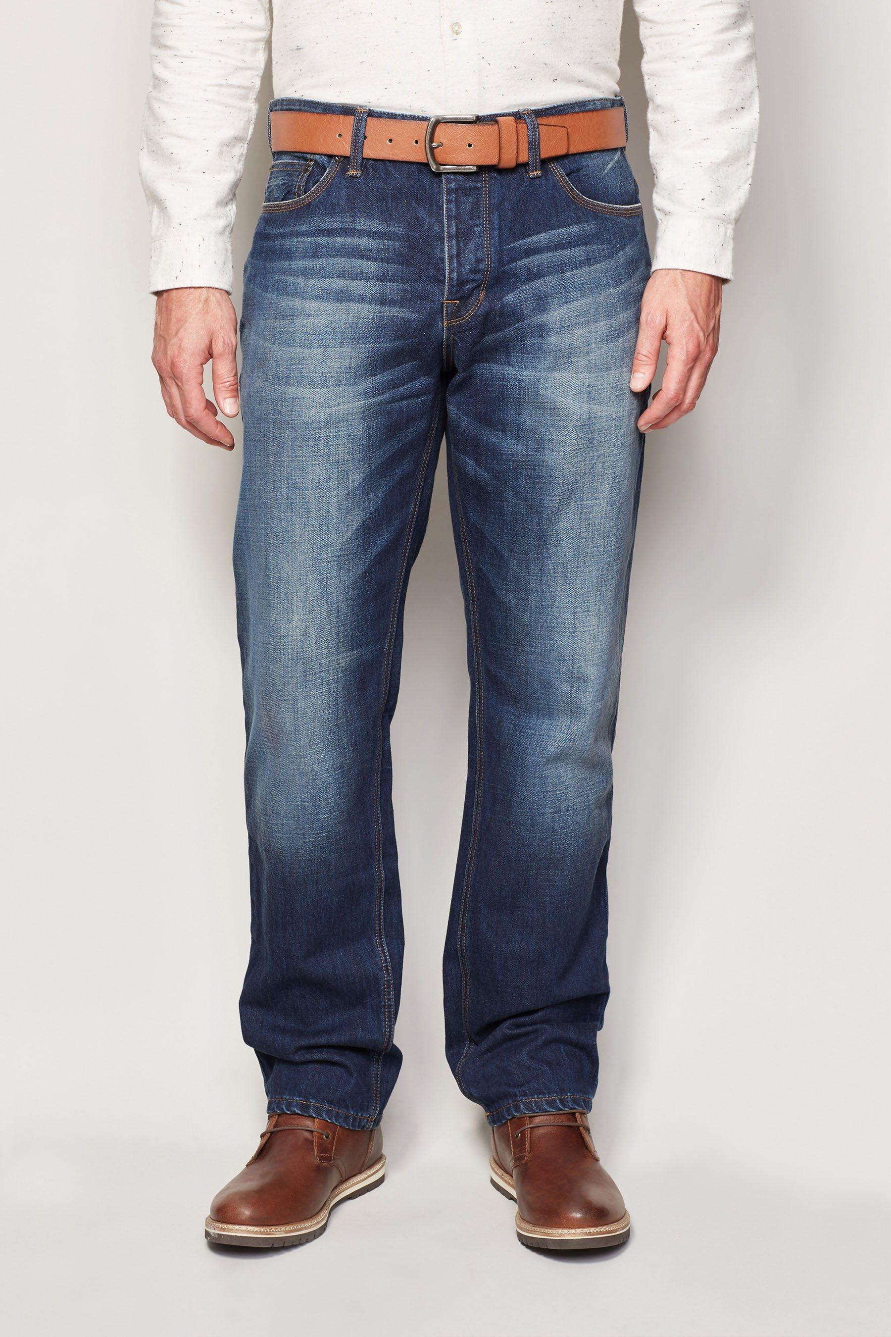 Next Straight-Fit Vintage Blue Jeans mit Gürtel 2 teilig