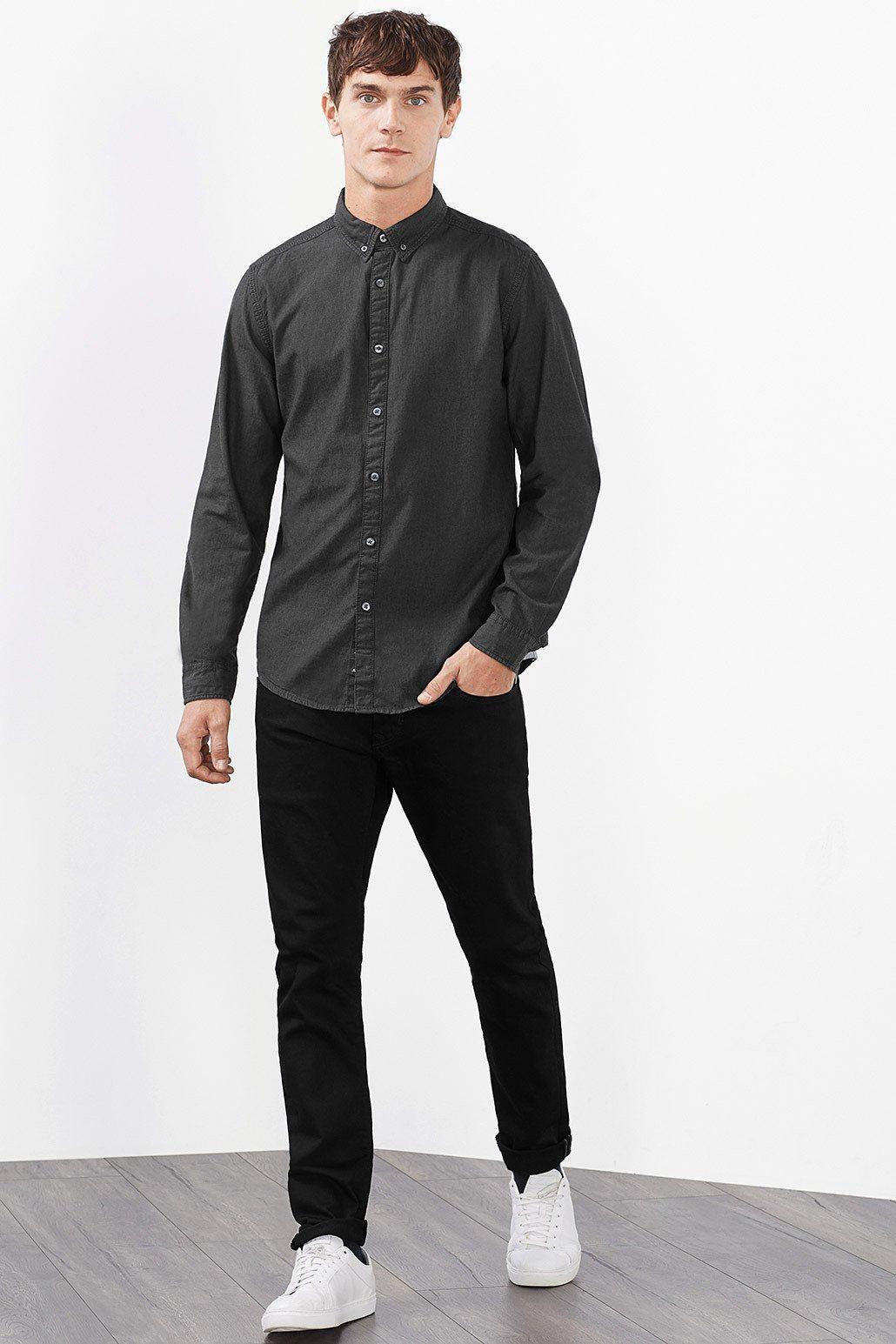 EDC Hemd mit Details, 100% Baumwolle