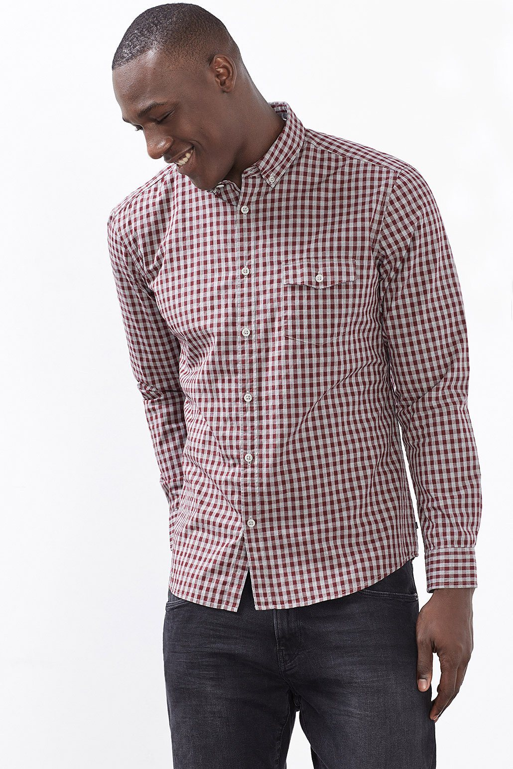 ESPRIT CASUAL Button-Down Karohemd, 100% Baumwolle