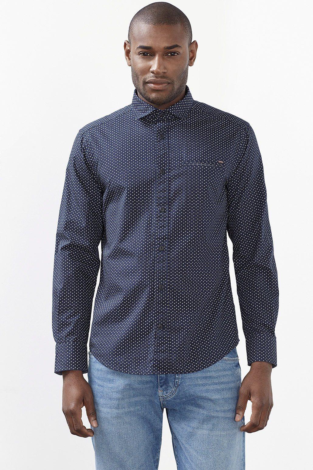 ESPRIT CASUAL Print Hemd mit Tasche, 100% Baumwolle