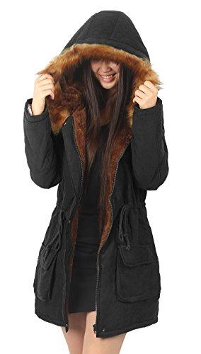 4how parka damen schwarz pelz mantel winter lang fell mit kapuze trench coat frau langcoat. Black Bedroom Furniture Sets. Home Design Ideas