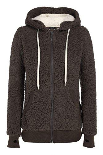 ACEVOG Damen Soft Fleecejacke aus weichem Teddyfell Hoodie mit Kapuzen Übergangsjacke Winter Kaffee Gr.36