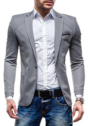 RIPRO Herren Sakko Sweatjacke Slim Fit Blazer Anzug RIPRO 1652 Grau M [4D4]