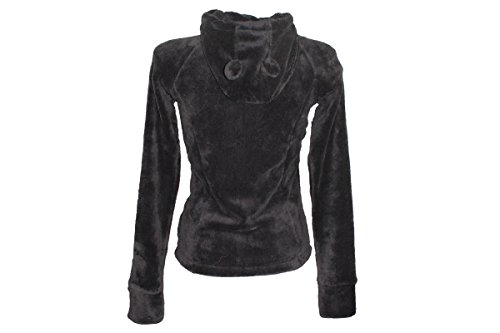 Damen Teddy Fleece Jacke Kapuze Stickerei Plüschjacke Winter XS S M L XL NEU (M (40/42), Anthrazit)