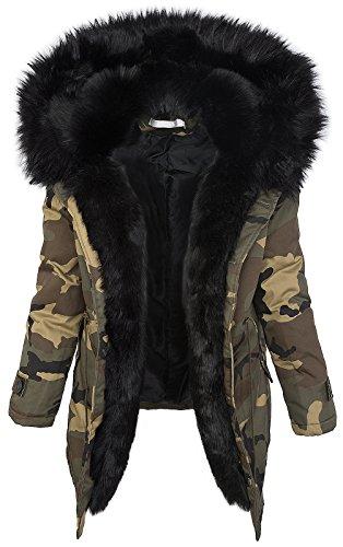 Damen Winter Parka Kunstfell Kapuze Army-Look warm [D-197 - Schwarz - Gr. M]