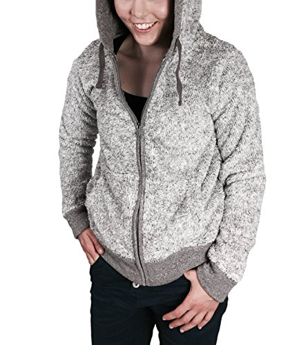 Eight2Nine Damen Fleecejacke im Teddyfleece Style mit Kapuze und Zipper by SBL grau, S