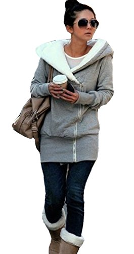 Juicy Trendz Doppelreißverschluss Designer Damen kapuzenpulli Sweatshirt Pullover Top-hoodie Kapuzenjacke Mantel, GRAU, GR. XL
