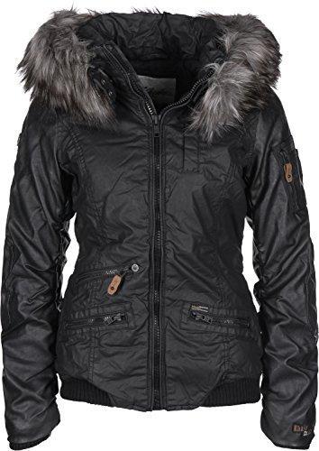 Khujo Damen Jacke Bryanna Fake Leather, Schwarz (Black 200), Large (Herstellergröße: L)