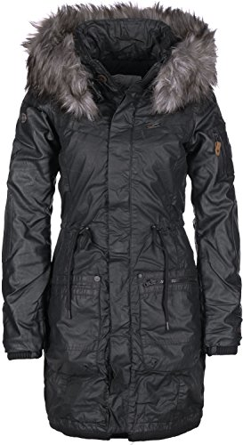 Khujo Damen Parka Julita Fake Leather 1563CO163 Black M