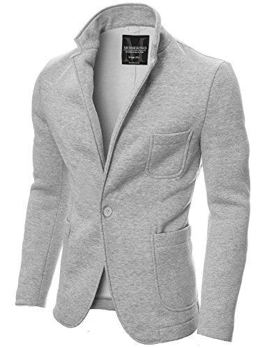 MODERNO - Slim Fit Freizeit Baumwolle Herren Sakko Blazer (MOD14515B) Grau EU XL
