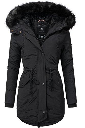 Marikoo Damen Mantel Wintermantel Winterparka 1 Jacke 3 Farben 16 Kombinations-Möglichkeiten Mix & Match Tiramisu Schwarz Gr. S