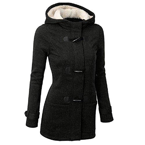 Meloo Kapuzenjacke Damen Winterjacke Wintermantel Steppjacke Kapuzenpullover Lange Parka Outwear Jacke Mantel Oberbekleidung Schwarz Grau Weinrot (M, Schwarz)