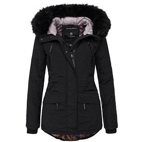 Navahoo Designer Damen Winter Parka Jacke warme Winterjacke Mantel B375 [B375-Alisia-Schwarz-Gr.L]