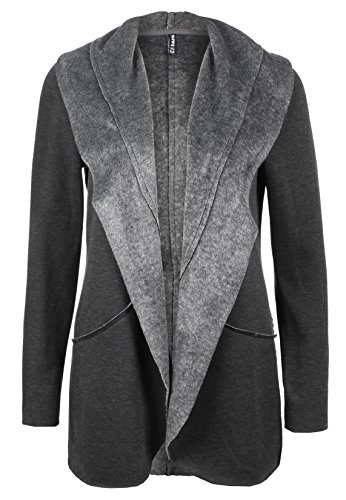 SUBLEVEL Damen Fleece Cardigan meliert | Warme Strickjacke offen mit Umlegekragen dark-grey M