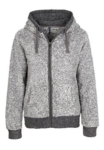 SUBLEVEL Damen Fleecejacke mit Kapuze | Elegante Jacke aus hochwertigem Teddyfleece meliert dark grey XL