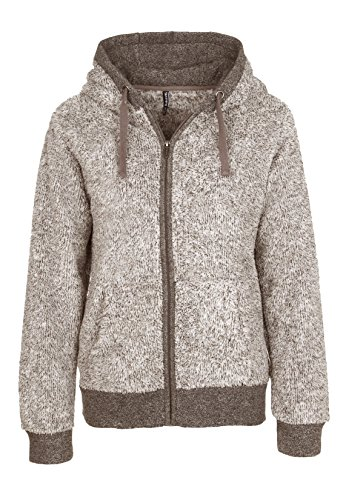 SUBLEVEL Damen Fleecejacke mit Kapuze | Elegante Jacke aus hochwertigem Teddyfleece meliert light brown L