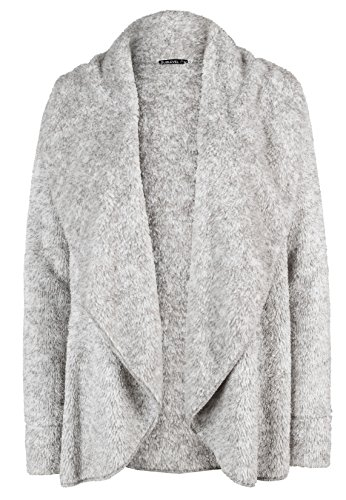 Sublevel Teddy Fleece Cardigan für Damen | Elegante Winter Strickjacke mit V-Ausschnitt ohne Verschluss light-grey M