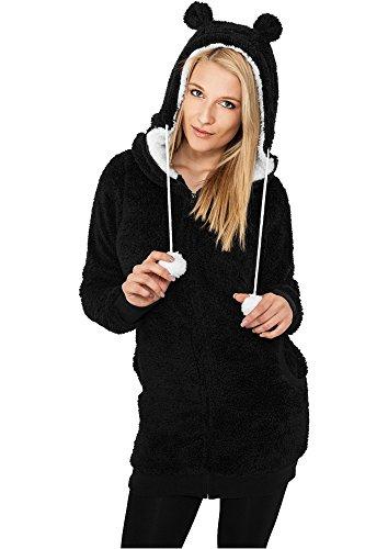 Urban Classics Ladies Long Teddy Zip Hoody TB394, size:L, Farbe:schwarz/weiß