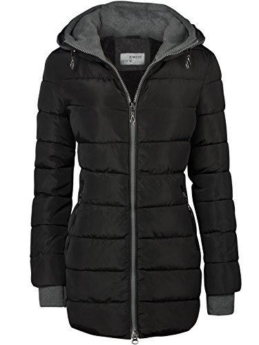 winter damen stepp mantel lang jacke gef ttert kapuze. Black Bedroom Furniture Sets. Home Design Ideas