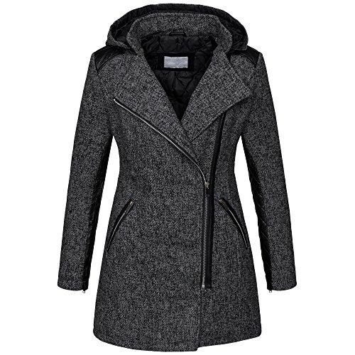 Warmer Damen Winter Wollmantel melierter Woll Parka Jacke Kunstleder B272 [B272-Dunkelgrau-Gr.XXL]